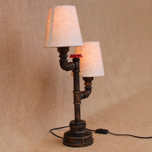 Vintage Design Retro Black Bedside 2 Lights Fabric Lampshade Table Lamp E27 Lights Sconce For Bedroom Workroom Workshop Office