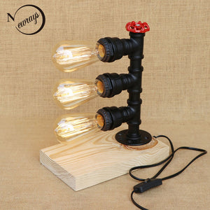 Vintage Retro Iron Wood Black Water Pipe Steam Punk Table Lamp With Switch E27 E26 Led Lights For Bedroom Bedside Office Study