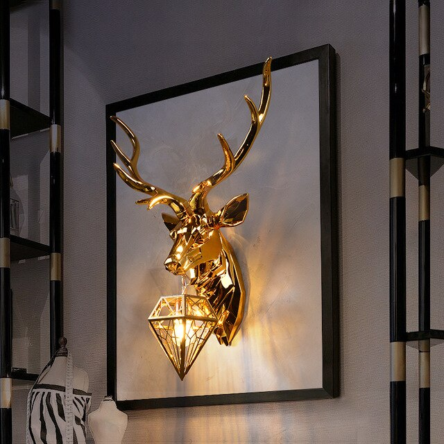 Vintage Silver Gold Antler Wall Lamp For Living Room Bedroom Decoration Nordic Staircase Light Wall Soconces Buckhorn Wall Light