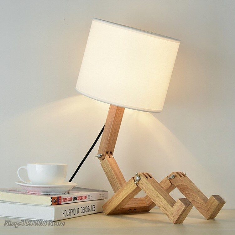 Wooden Table Lamp For Bedroom Robot Shape E27 Lamp Holder Modern Cloth Art Wood Desk Table Lamp Parlor Indoor Study Night Light