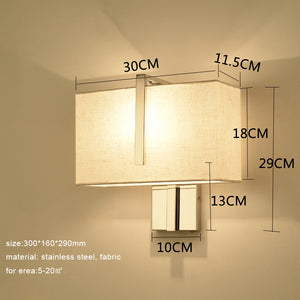 Modern Indoor LED Wall Lamp Bedside Bedroom Applique Sconce Dual Switch Interior Headboard Home Hotel Wall Light