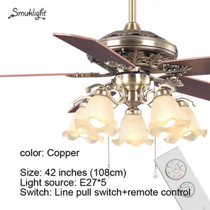 Fan Chandelier Retro Wooden Dining Room Household Electric Fan Mute LED Remote Modern Fan Chandelier Lamp