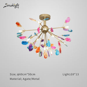 Modern G9 Agate Ceiling Light Glass Ball Lampshade Hanging Lamps Lustre Lighting Living Room Pendant Ceiling Decorative Lighting