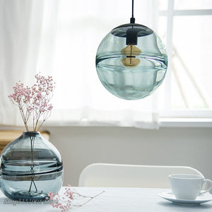 Modern LED Pendant Lamp Italian Round Glass Pendant Lights For Villa Bedroom Coffee Store Fashion Kitchen Hanging Lamp Luminaire