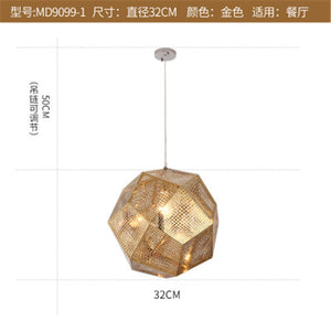 Modern Pendant Lights Nordic Living Room Geometric Creative LED Pendant Lamp Metal Multi-face Ball Stainless Steel Hanging Light