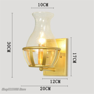 Modern Retro Golden Wall Lights Glass Vase Shape LED Wall Lamp Stair Corridor Balcony Bedside Lamp Wall Sconce Decor Fixtures