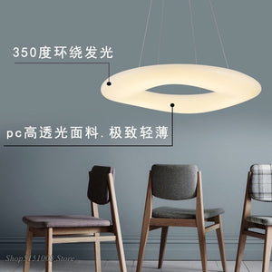Modern White Ring LED Pendant Lights Kitchen Hanging Lamp Dining Room Novelty Home Luminaire Indoor Decorative Lighting Fixtures