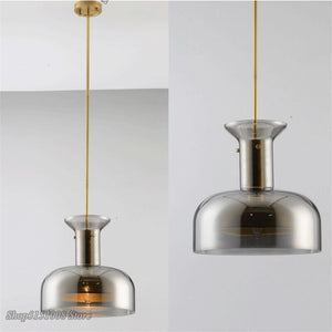 Nordic Design Smoke Gray Copper Pendant Lights Villa Kitchen Hanging Lamps Luminaire Dining Room Luxury Home Decor Led Fixtures