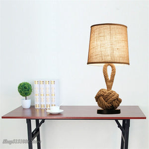 Retro Desk Light Rope Art Bedside LED Table Lamp Lamp Bedroom Study Office Coffee House Bar Lighting Lampara De Mesa