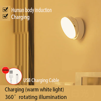White Rotating Fixed Lighting Induction LED Night Light Bedroom Kitchen Dining Room CorridorUSB Rechargeable Battery Wall Lamp
