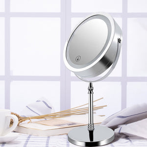 Vanity Makeup Mirror Light USB Port Charger LED Table Lamp Dressing Lamp Touch Switch 360 Rotating HD Mirror Lighting