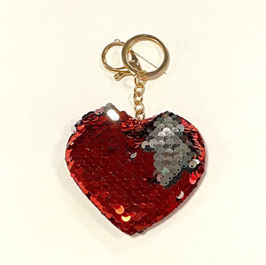 Sequin Heart Key Chain