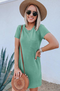 Green Crew Neck short sleeve pocket dress