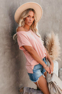 Pink Pocket Tee with Side Slits