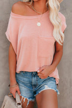 Load image into Gallery viewer, Pink Pocket Tee with Side Slits