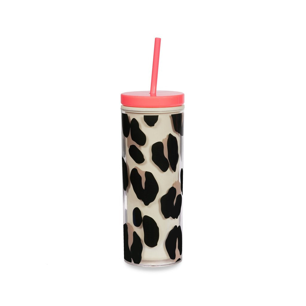 Kate Spade Forest Feline Tumbler with Straw