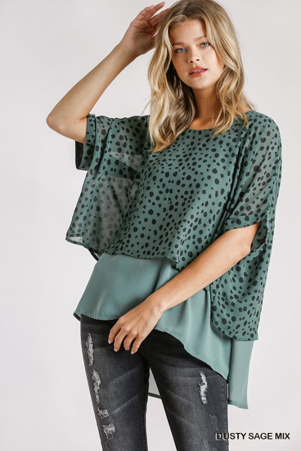 Dusty Sage Short Folded Sleeve Layered Tunic with Side Slits and High Low Hem