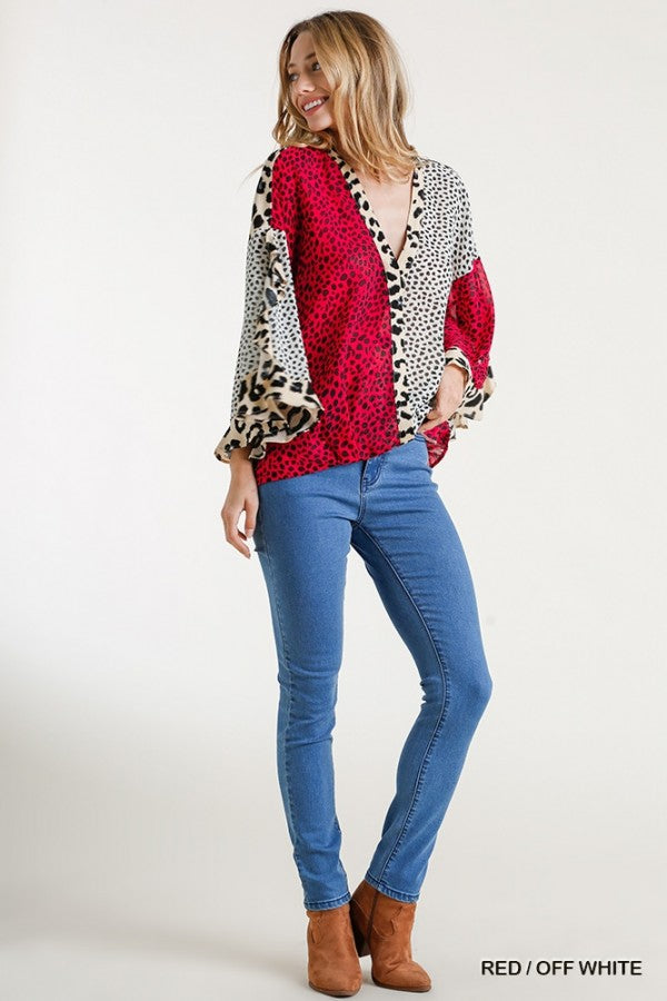 Sheer Multi-Animal Print Split Ruffled Sleeve High Low