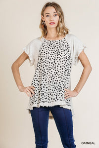 Oatmeal Short Sleeve Round Neck Dalmatian Print Top with Frayed High Low Scoop Hem