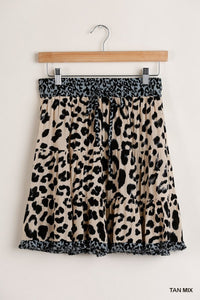 Tan Mix Animal Print Skirt with Drawstring and Elastic Waist Band