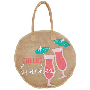 Mud Pie Round Jute Tote Cheers