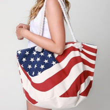 Load image into Gallery viewer, American Flag Stars and Stripes Tote Bag