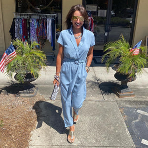 Light Blue Short Sleeve Jumpsuit