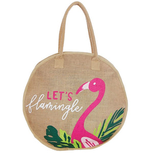 Mud Pie Round Jute Tote Flamingle