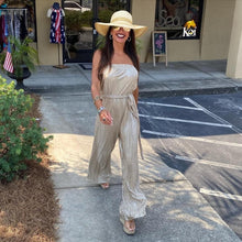 Load image into Gallery viewer, Gold Strapless Jumpsuit