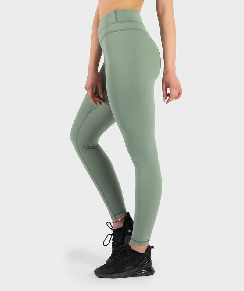These Sage-Green  leggings are so soft and comfortable with a supportive waistband for all kind of sports .It is with reflective printing on hem and backside .its coinstruction of Nylon and elastane makes it ideal for all season