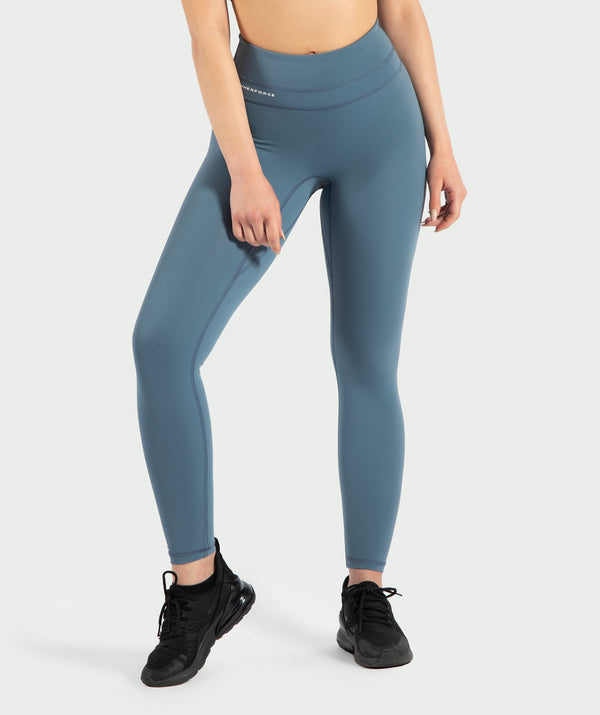 These Cadet- Blue leggings are so soft and comfortable with a supportive waistband for all kind of sports .It is with reflective printing on hem and backside .its coinstruction of Nylon and elastane makes it ideal for all season.