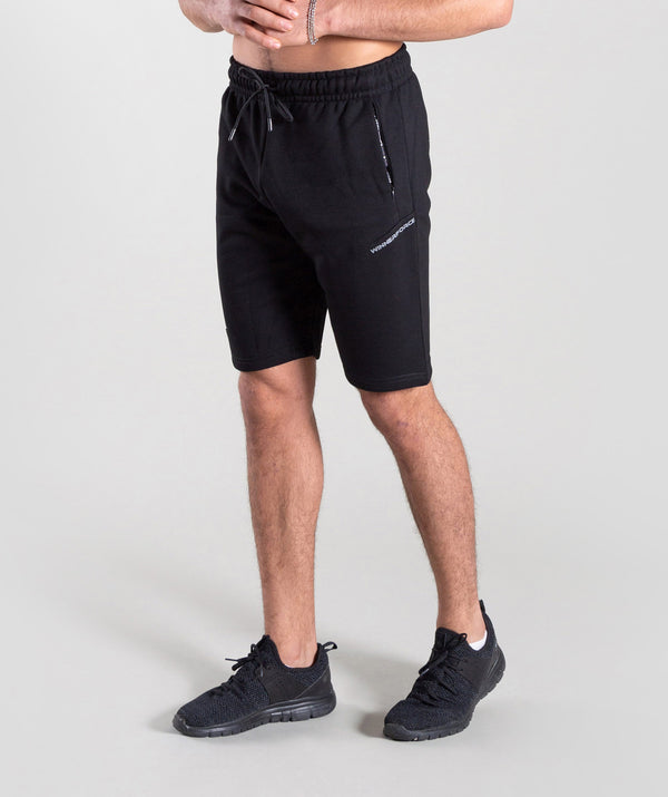 POTENZO BLACK SHORTS ARE  WITH LIGHTWEIGHT FABRIC TO ENSURE YOUR MAXIMUM MOVEMENT AND EXERTION THROUGHT TRAINING.THESE BLACK SHORTS ARE MADE WITH COTTON FABRIC WITH WINNERFORCE LOGO PRINTED IN WHITE COLOR TO THE LEFT LEG.ITS NOT TALL NEAR SHORT LENGTH.WITH WINNERFORCE LOGO BRANDED ON LACES WILL GIVE YOU POWER DURING YOUR PERFORMANCE.