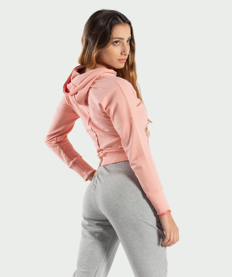 BELLY BABY-PINK CROPPED HOODIE WITH FULL LENGTH ZIPPER IS WITH COTTON AND POLYESTER BLENDED FABRIC THAT MAKES IT SUITABLE FOR ALL ACTIVITIES .WINNERFORCE LOGO IS PRINTED TO SHOULDER .THE RIBBED HEM AND CUFFS ADD SOME STYLE TO YOUR TRAINING HOODIE.YOU CAN PAIR IT WITH ANY PANTS EVEN CASUAL ONE.