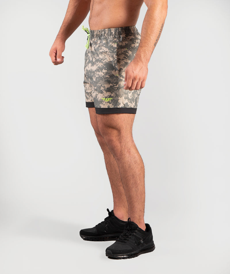 THIS CAMO SHORT IS MADE OF CORDURA FABRIC.YOU CAN WEAR IT IN A GYM WORKOUT OR OUTSIDE THE GYM.IT IS WITH WINNERFORCE LOGO IN PHOSPHORIC COLOR.