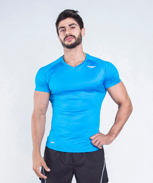 men - fivezy - t-shirt - blue- short sleeves - comfy - stylish