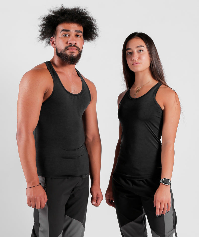 Women Men Teamwork Tank Black Charcoal For Gym Clothing Marl Fabric LEBANON
