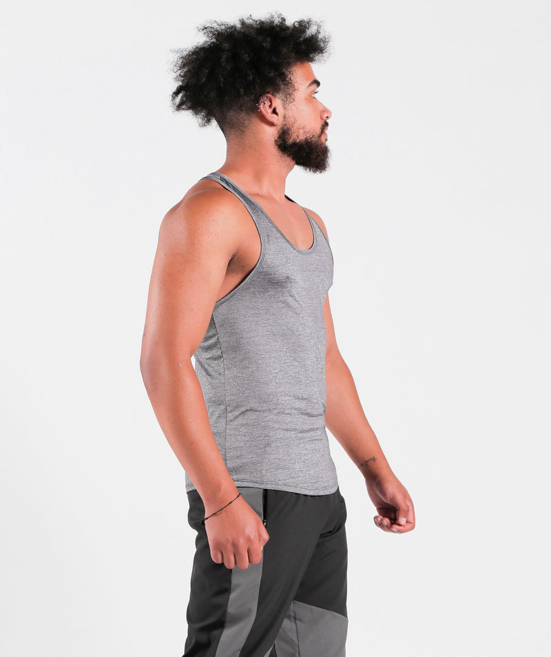 Men Teamwork Tank Steel Grey Sportswear Outfit Clothes For Gym With Dry-Fit Fabric Winnerforce Brand LEBANON