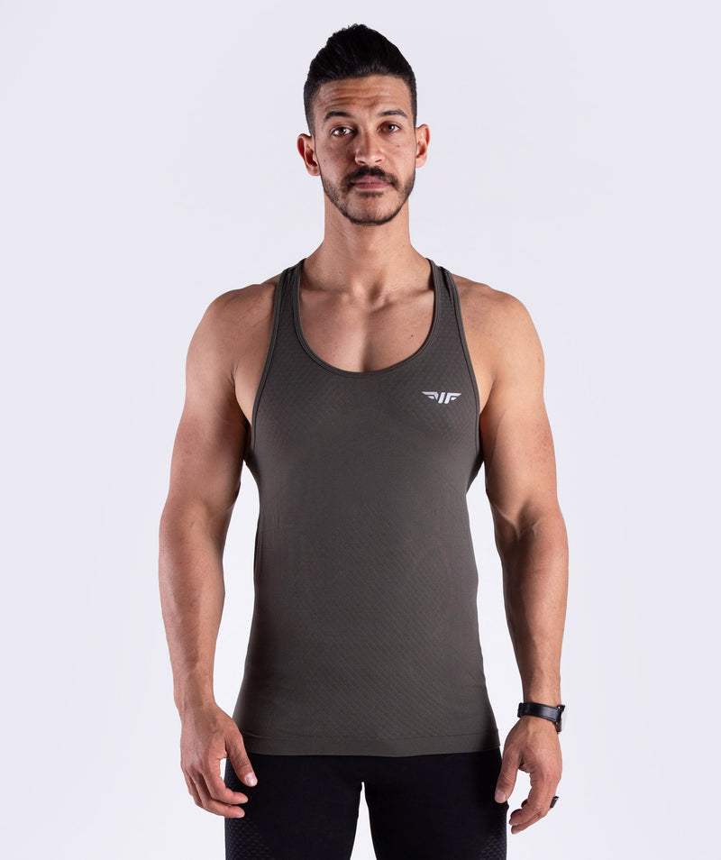 Men seamless olive for gym in any sports activities or cardio stretch fabric DUBAI
