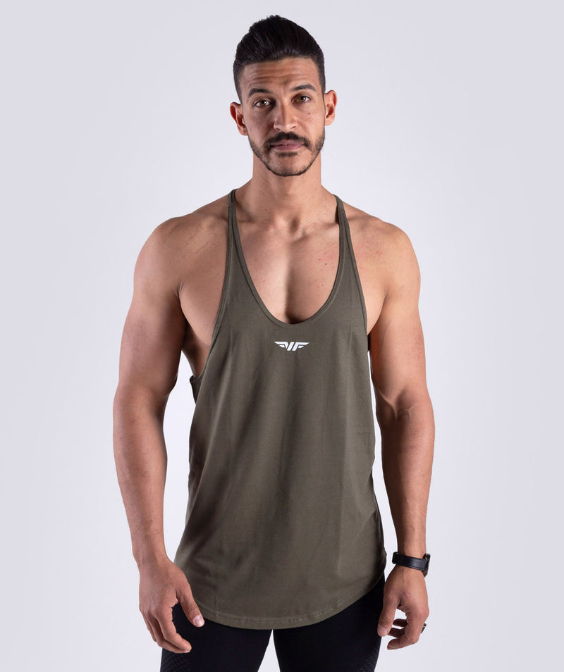 THIS STRINGER  OLIVE TANK IS IDEAL TO SHOW OFF YOUR MUSCLE.MADE OF 100% COTTON WITH A WINNERFORCE LOGO TO CHEST.THIS TANK IS SUITABLE FOR TRAINING,CARDIO SESSIONS OR LIFTING.