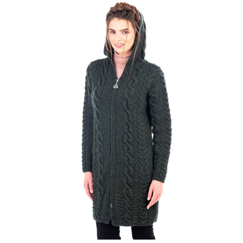 Stay warm and fashionable this fall and winter with this Aran Cable Knit Hooded Zip Coatigan. Made in Ireland of 100% Merino wool. Olde Church Emporium