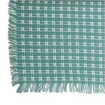 Homespun Tablecloth - Seafoam and White Tablecloths, Napkins - Made in USA