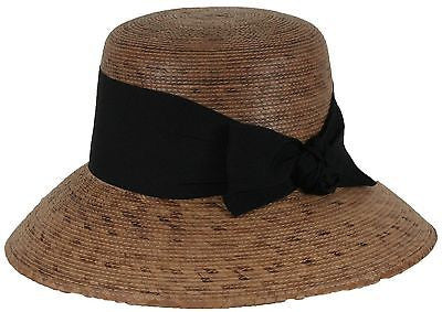 Womens Hat Somerset with Black Bow and Stretch Sweatband - One Size