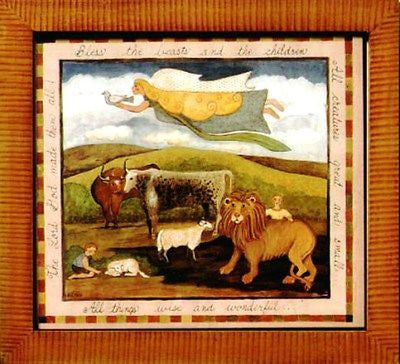 Fractur - Blessing for Beasts, American Folk Art, Collectible, Affordable Art