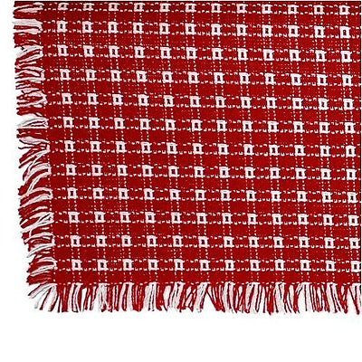 Homespun Tablecloth - Red and White Tablecloths, Napkins - Made in USA