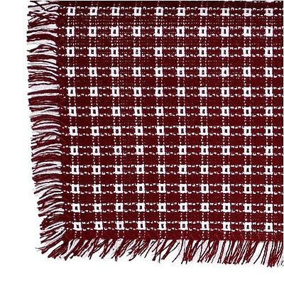 Homespun Tablecloth - Cranberry and White - Tablecloths, Napkins, Runners, Placemats  - Made in USA