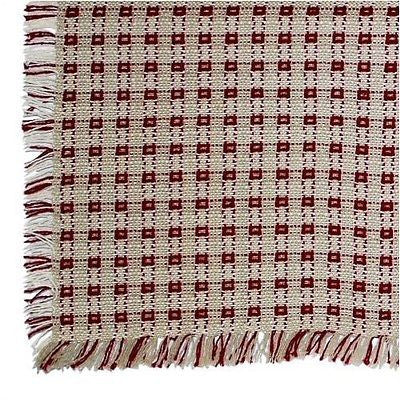 Homespun Tablecloth - Stone and Cranberry - Tablecloths, Napkins, Runners, Placemats- Made in USA