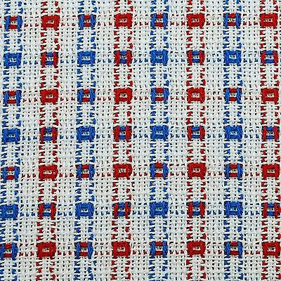 Homespun Tablecloth - White with Red and Blue Tablecloths - Made in USA
