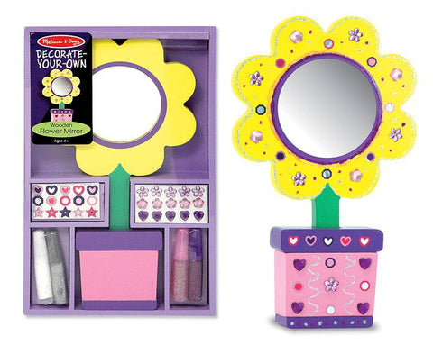 Melissa & Doug Decorate-Your-Own Wooden Flower Mirror Kids Craft Kit - Stickers, Glue