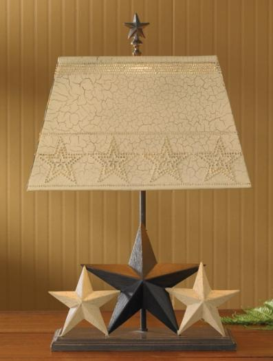 Decorative Three Star Lamp With Metal Shade - Country Style Lamp - Olde Church Emporium