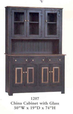 Amish Made China Cabinet with Glass - Primitive Black - Made in USA